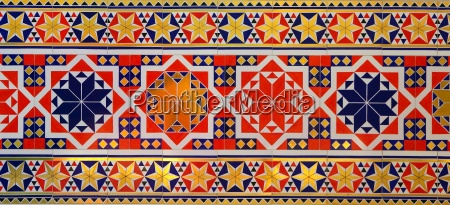 oriental mosaic pattern on tiles