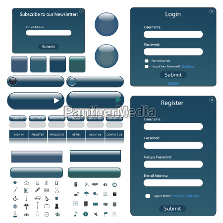 web template with forms bars buttons