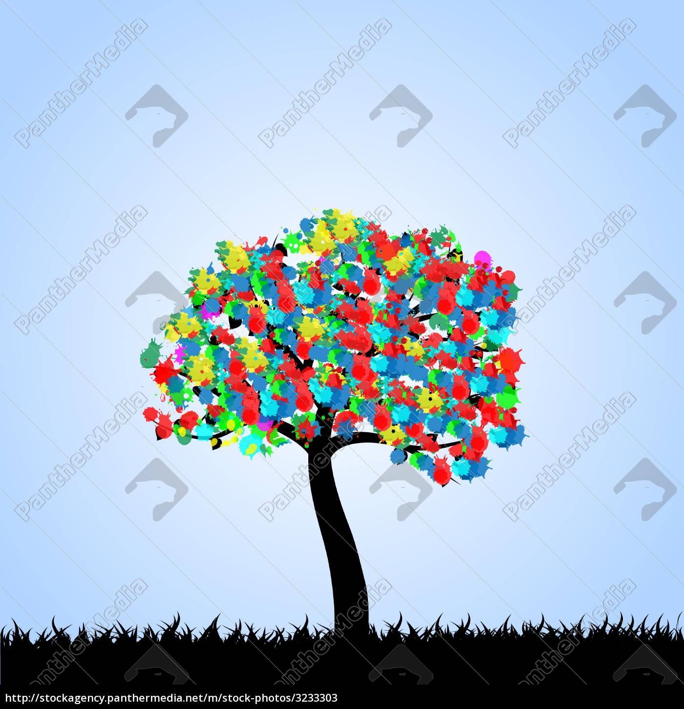 colorful, inkblot, tree, illustration - 3233303