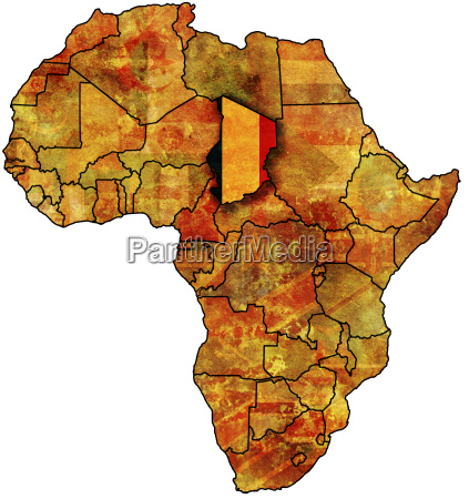 chad flag on africa map