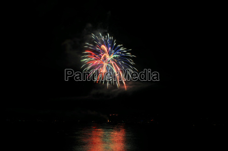 fireworks and reflected colors