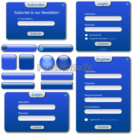 various blue web forms bars and