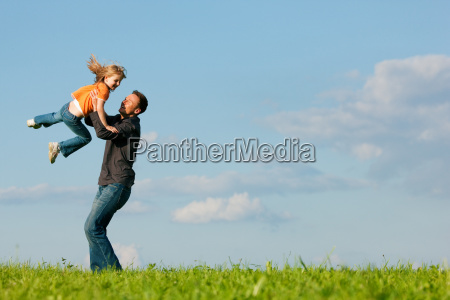 father, and, daughter, on, meadow, in - 3285579