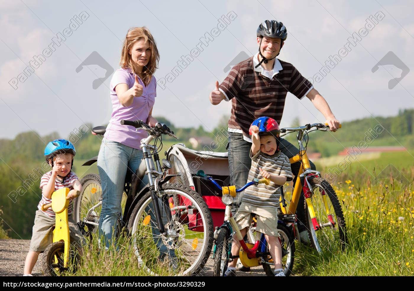 family, riding, bike, in, summer - 3290329