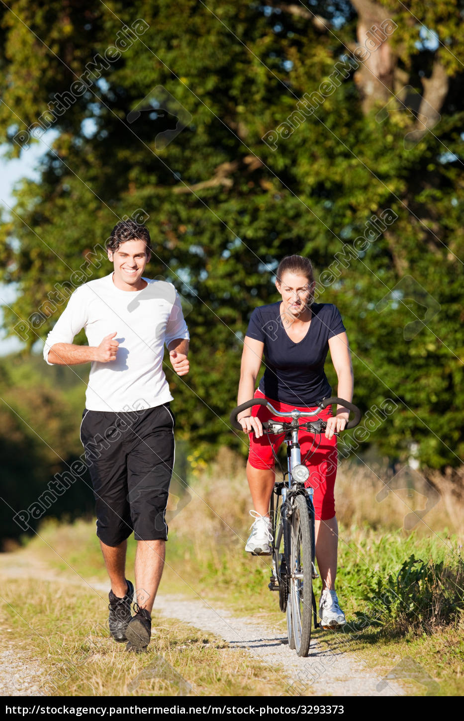 sport, couple, jogging, and, riding, a - 3293373