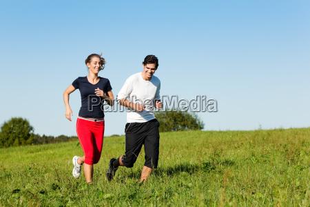 sport, couple, jogging, in, summer - 3293417