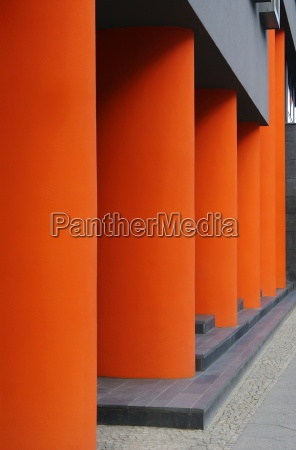 modern columns in front of the