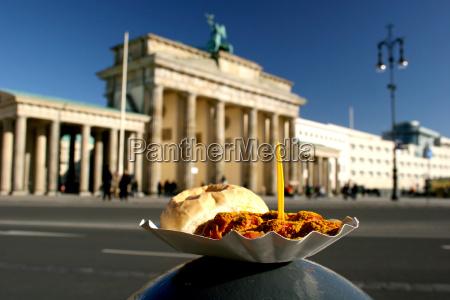 berlin currywurst at the brandenburg gate