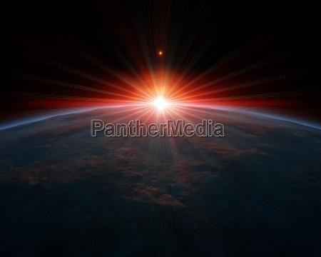 space sunrise sunlight spread spray spirit
