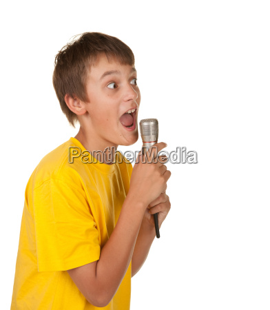 boy with microphone on white