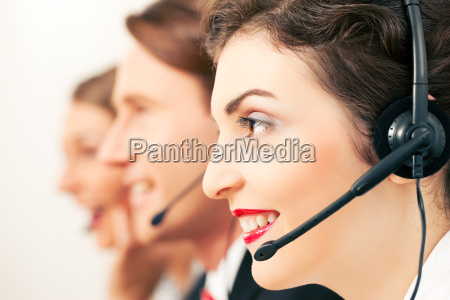 call center team during a call