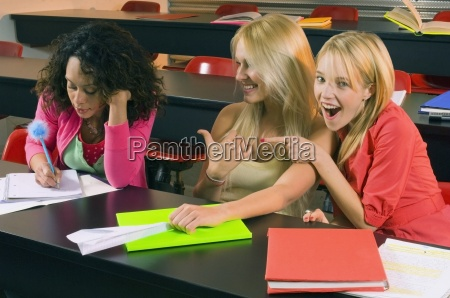 female college students in a classroom