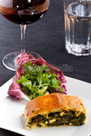 spinach strudel on a plate