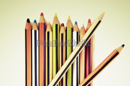 close up of colored pencils