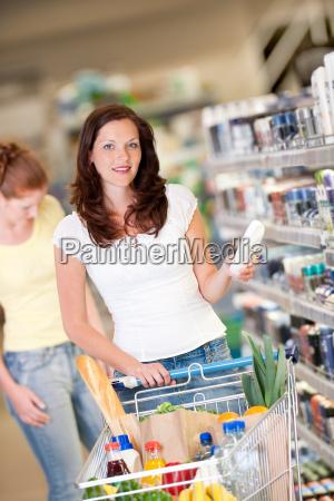 shopping woman choose cosmetics