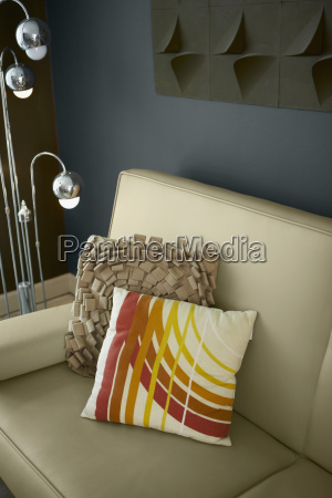 high angle view of cushions on