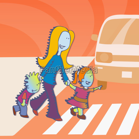 woman and her children crossing a