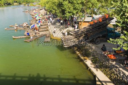 high angle view of bamboo rafts