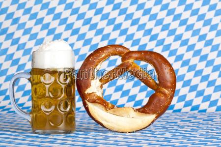 oktoberfest beer stein and pretzel