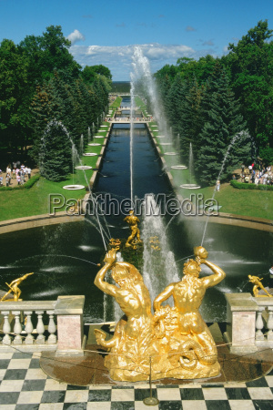 fountains in the garden of a