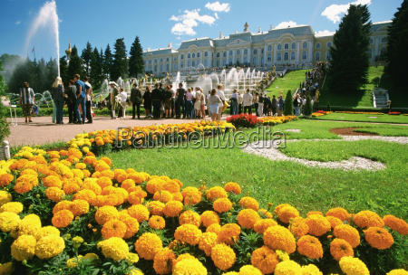 tourists in the garden of a