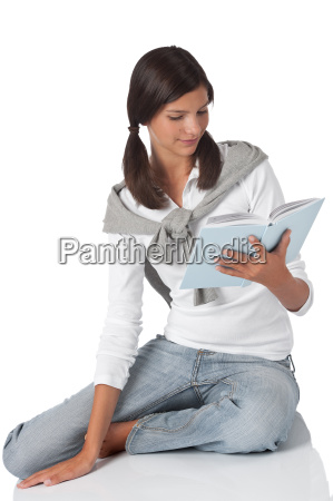 young happy student relax and read