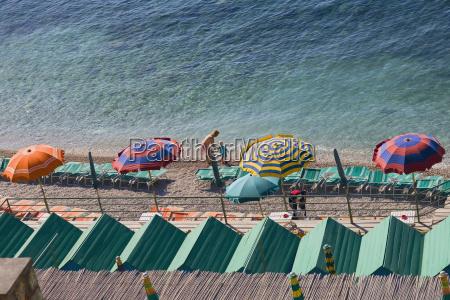 high angle view of beach umbrella