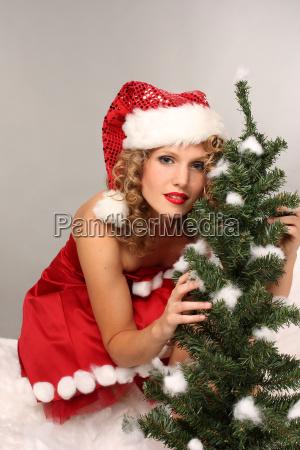 christmas woman at fir