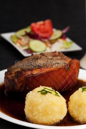 bavarian roast pork with potato dumplings