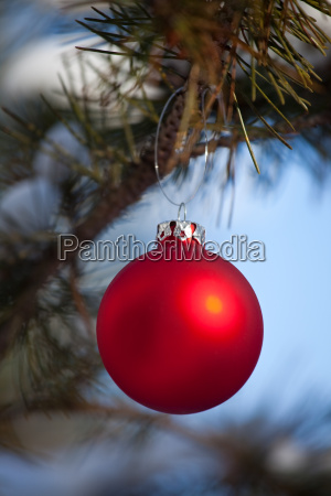 red christmas bauble outdoors