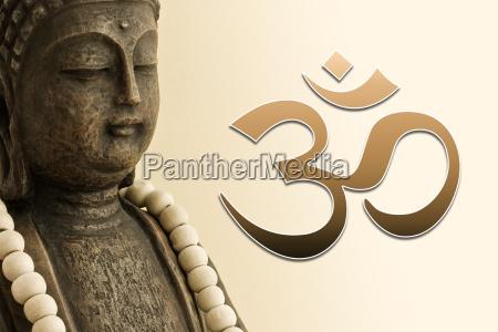 zen buddha with mala chain and