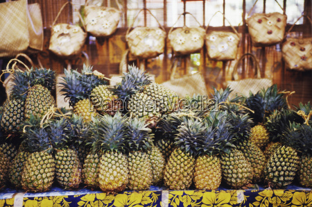 close up of pineapples in a