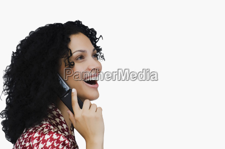 side profile of a businesswoman using