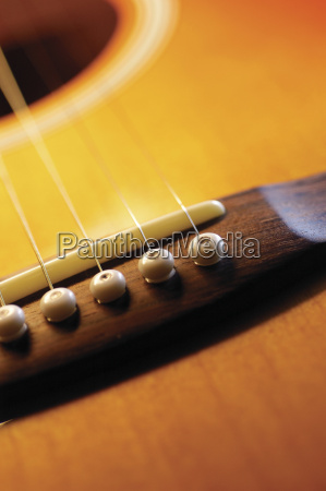 extreme close up of guitar bridge