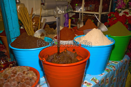 spices at a market stall xochimilco