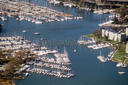 aerial view of marinas in annapolis