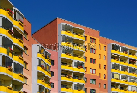 block of flats in a bright