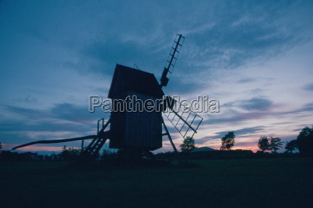 low angle view of a windmill