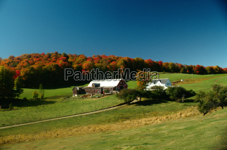farm scene with fall foliage
