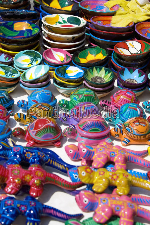 high angle view of ceramics turtles