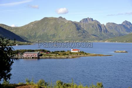 blue rock fjord idyllic idyll