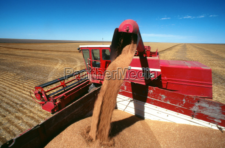 close up of a red combine