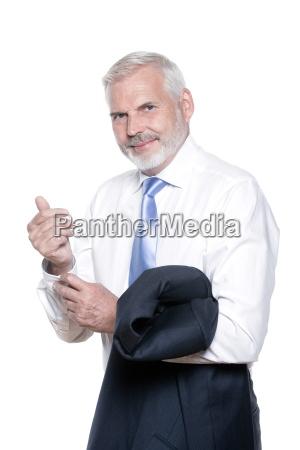 senior man portrait distrust pensive