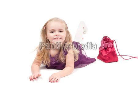 studio shot of baby girl in