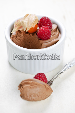 chocolate mousse dessert with a spoon