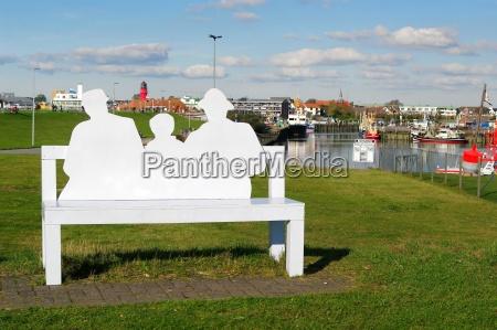 bench in the harbor of buesum