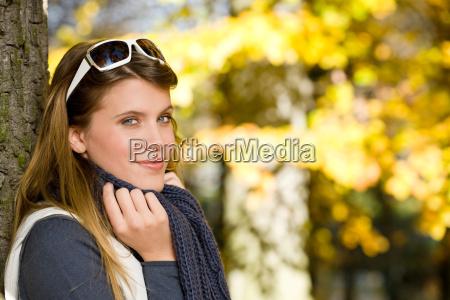 autumn park fashion woman with