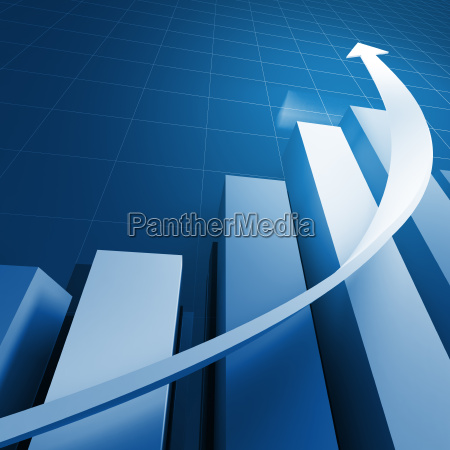 financial stat and white arrow