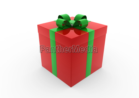 3d red green white gift box