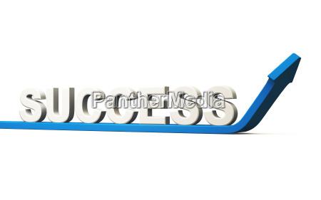 business concept success 3d arrow blue